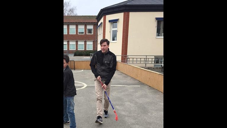 """Patric Åberg, kommunalråd i Östra Göinge. Han vill skapa framtidstro i kommunen. """"Vi ska vara 15000 stolta göingar"""", säger han."""