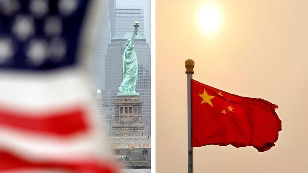 USA:s flagga och Kinas flagga
