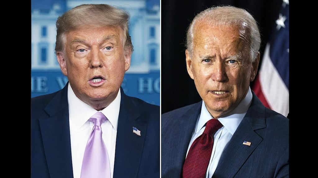 Republikanernas Donald Trump och demokraternas Joe Biden