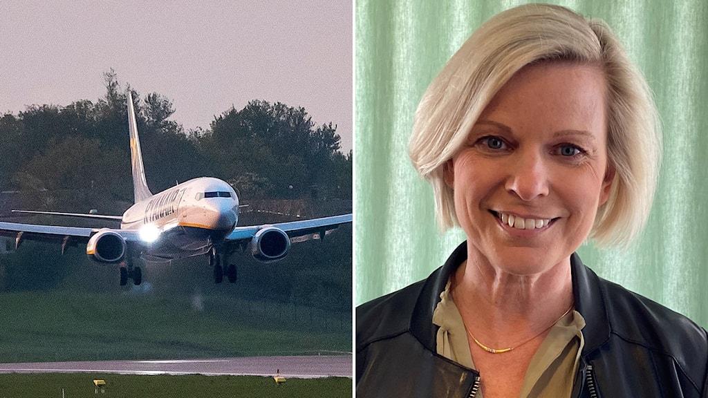 Ryanairplan som landar och Anna Wieslander, säkerhetspolitisk analytiker.