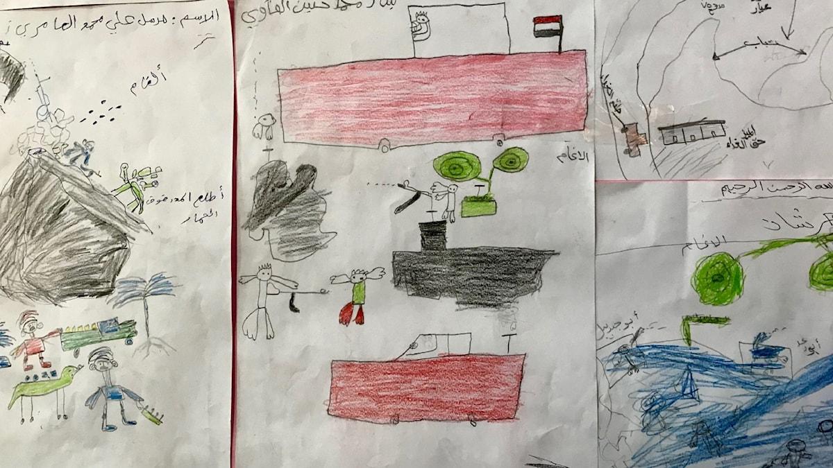 Teckning ritad av barn i krighärjade Jemen