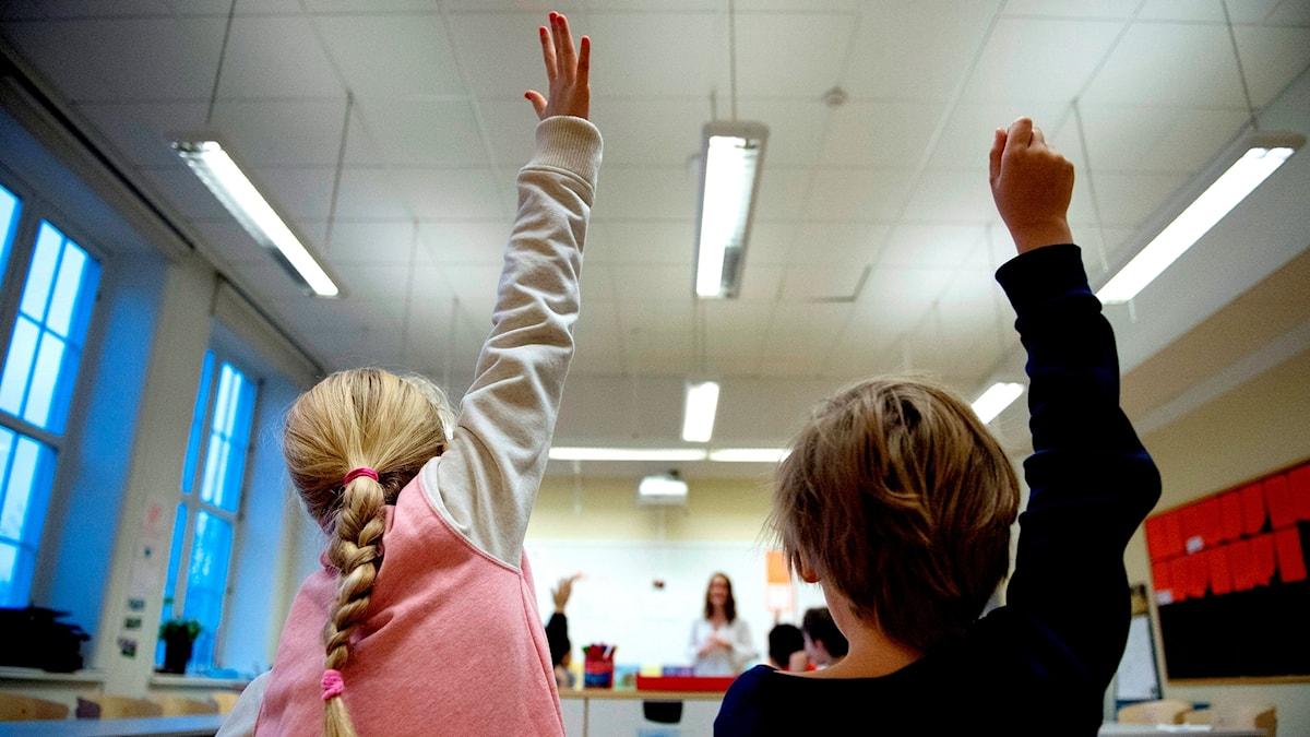 Elever i ett klassrum räcker upp handen.