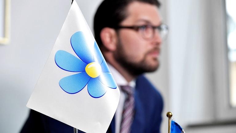Jimmie Åkesson med en flagga.