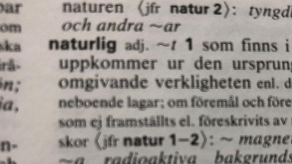 Bild av ordet naturlig, ur en ordbok.