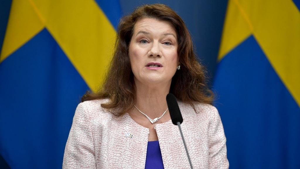 Ann Linde står framför två svenska flaggor.