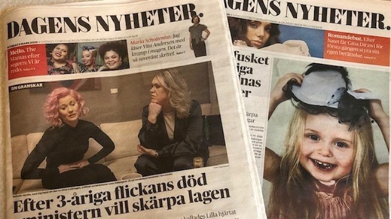 Dagens nyheters förstasida med nyheten om Lilla hjärtat.