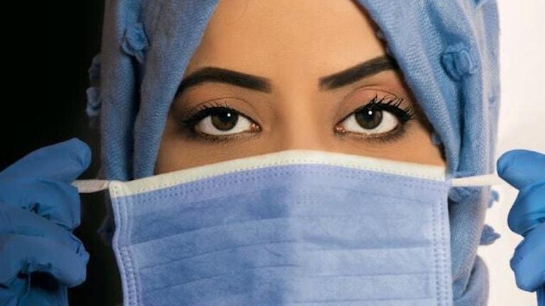 En bild på läkaren Zoha Alsadi på sjukhuset i den jemenitiska staden Aden.