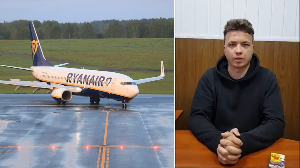 Delad bild: Ryanairflygplan, man i blå tröja.