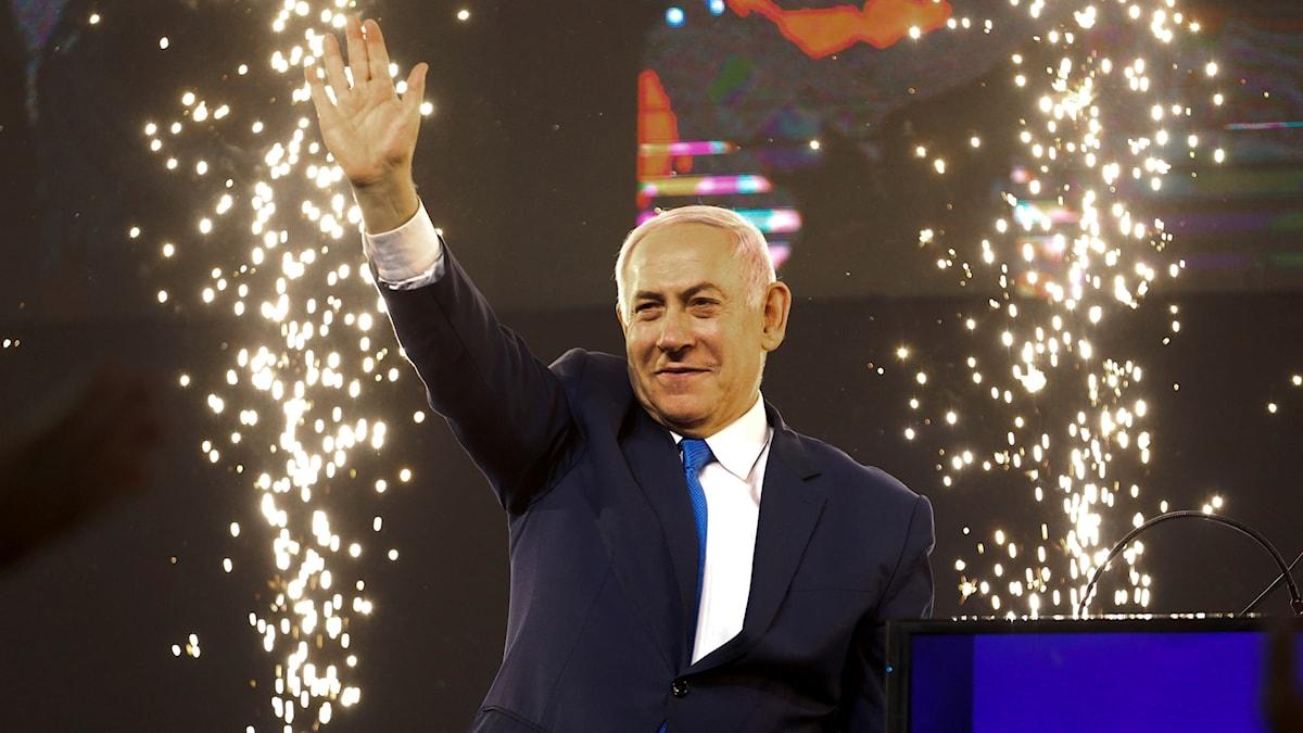 Netanyahu inför sina supporters på valnatten
