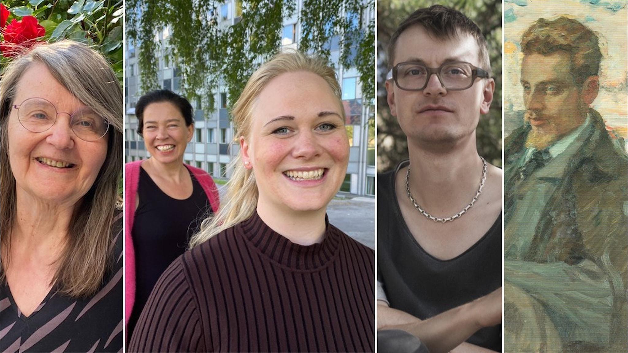 Fotomontage: Eva Ström, Marie Lundström, Katarina O'Nils Franke, Malte Persson och Rilke själv, avmålad, ej foto..