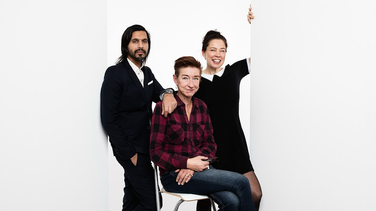Qaisar Mahmood, Nina Lekander och Marie Lundström. Foto: Mattias Ahlm, SR Foto.