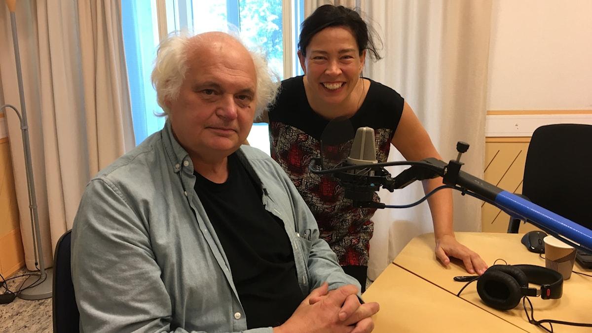 Göran Greider intervjuas av Marie Lundström i Lundströms Bokradio den 31 augusti 2019. Foto: Thella Johnson / Sveriges Radio