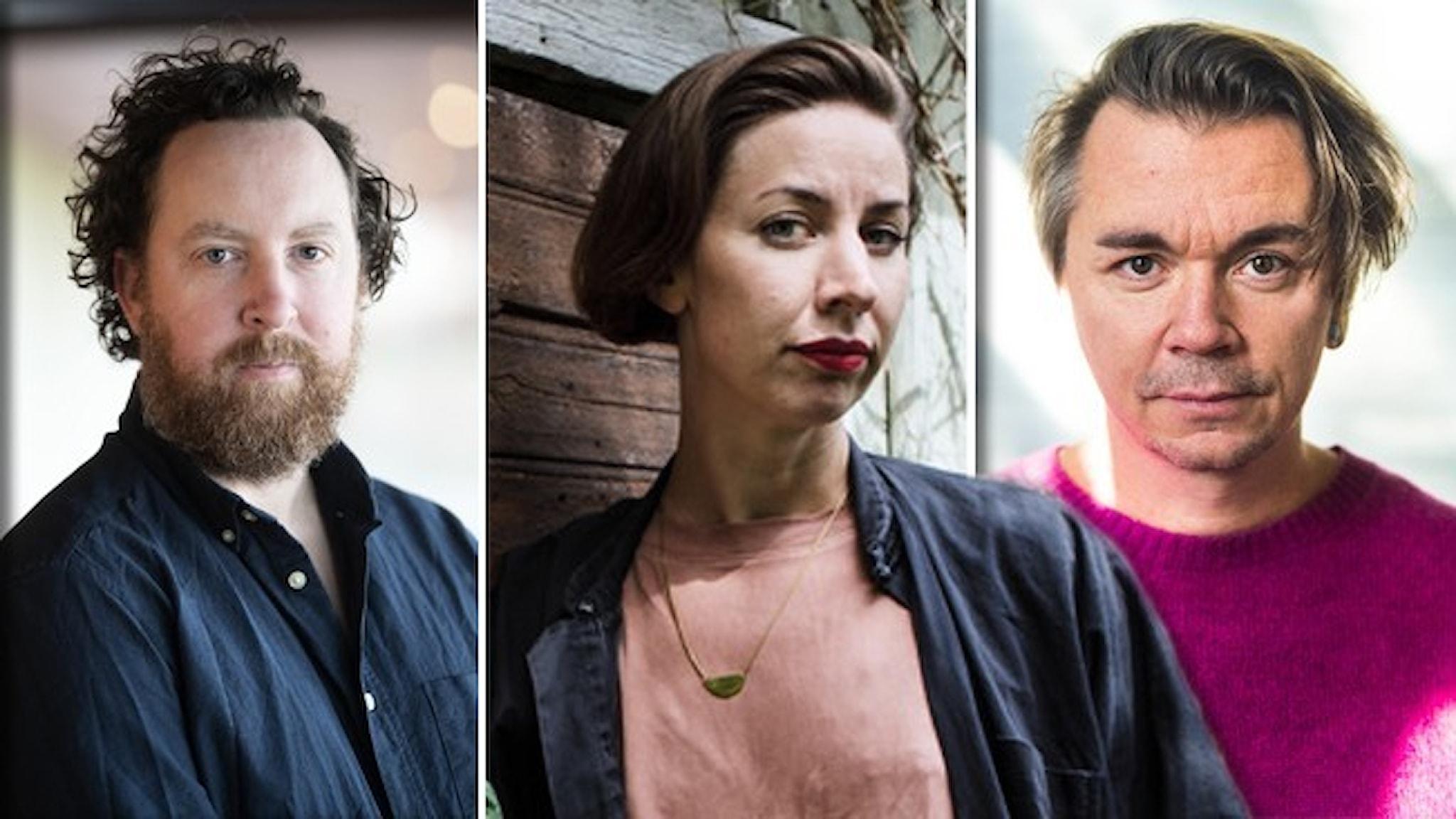 Tre porträtt av artisterna Uje Brandelius, Britta Persson och Emil Jensen.