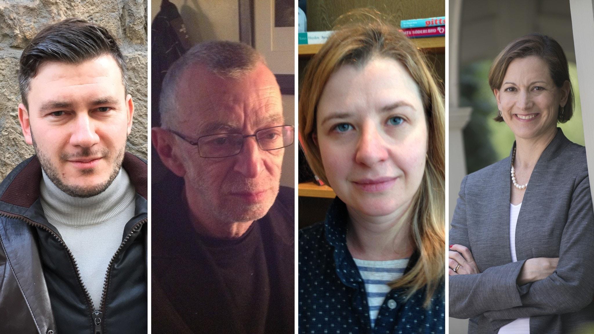 Författarna Dmitrij Gluchovskij, Lev Rubinstein, Dasha Tolstikova och Anne Applebaum