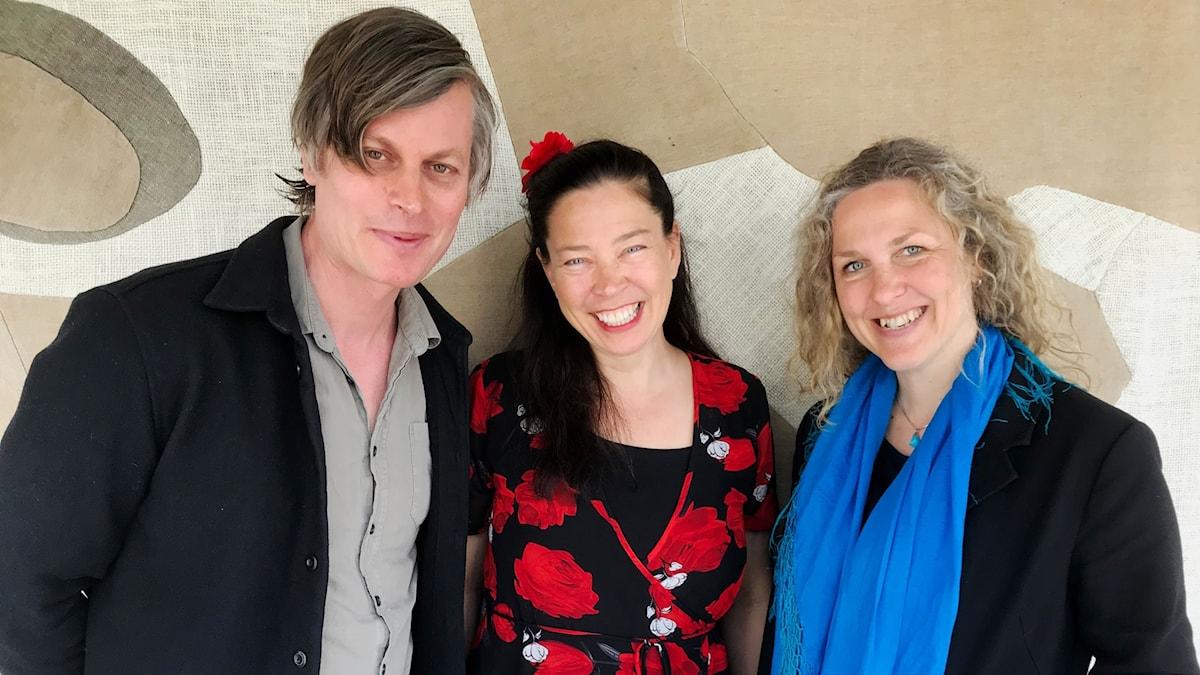 Martin Hederos, musiker, Marie Lundström och författaren Marit Kapla.