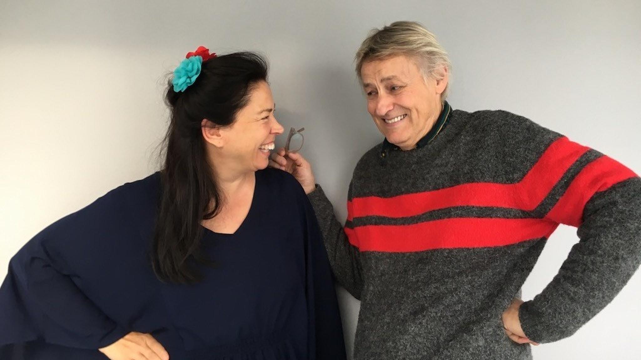 Marie Lundström och Lars Lerin. Foto: Thella Johnson / Sveriges Radio.