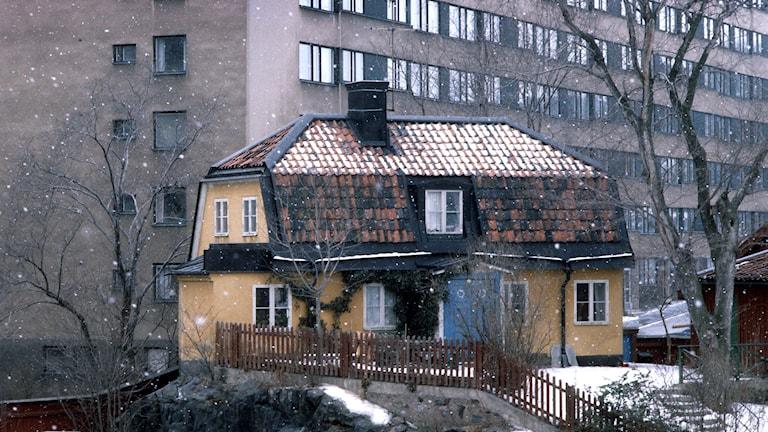Äldre hus framför höghus. Foto: SVT Bild.