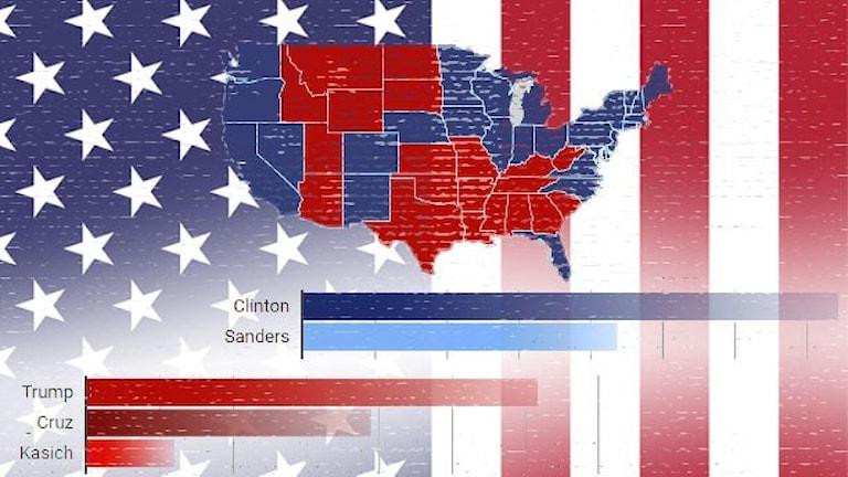 USA:s delstater färgade i blått och rött framför amerikansk flaga.