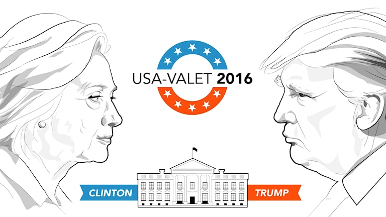 Illustration med Donald Trump, Hillary Clinton och Vita huset. Illustration: Liv Widell/Sveriges Radio.