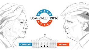 Illustration med Donald Trump, Hillary Clinton och Vita huset. Illustration: Liv Widell/Sveriges Radio.