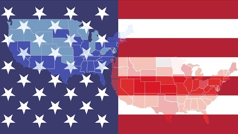 USAs delstater i rött och blått på ett utsnitt av den amerikanska flaggan.