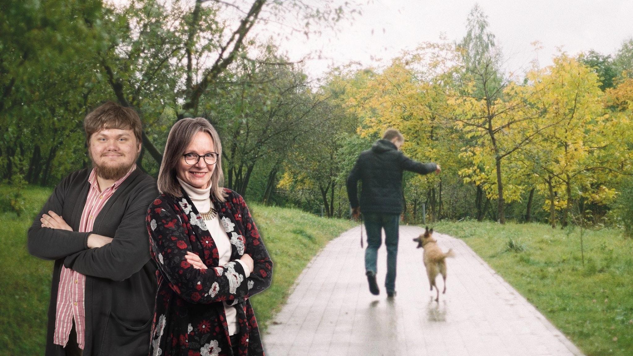 Syksyä kohden, koiran kanssa kevyesti askeltaen, syksyn värit ympärillä