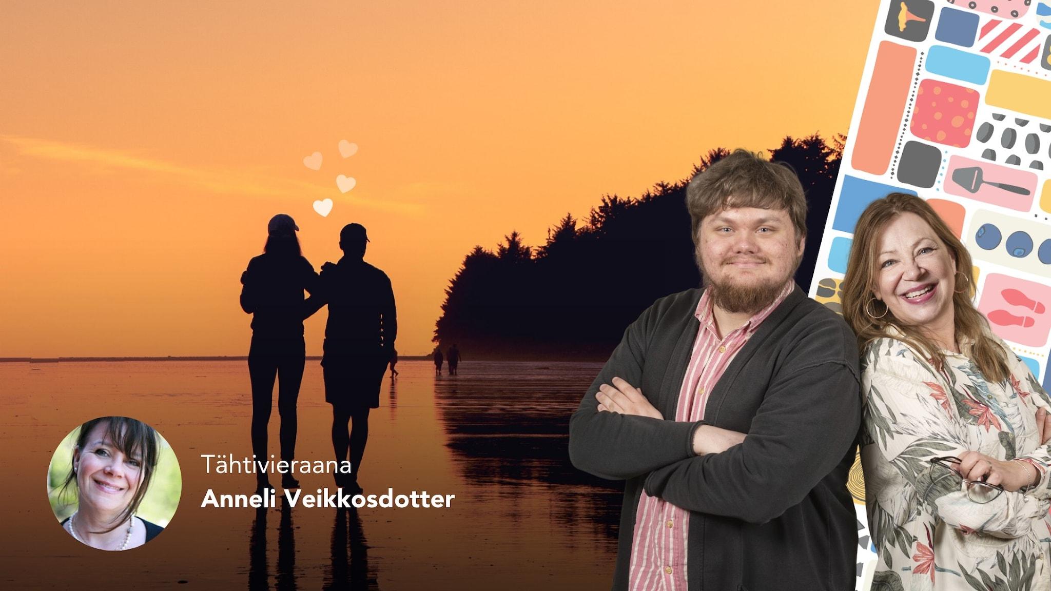 Ett kollage. Foto av två personer som går på en strand, och programledarna till höger framför en färgglad bakgrundsdekor.