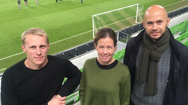 Budapest 20161114 Richard Henriksson (Radiosporten), Petra Thorén (Aftonbladet) och Andréas Sundberg (Fotbollskanalen).
