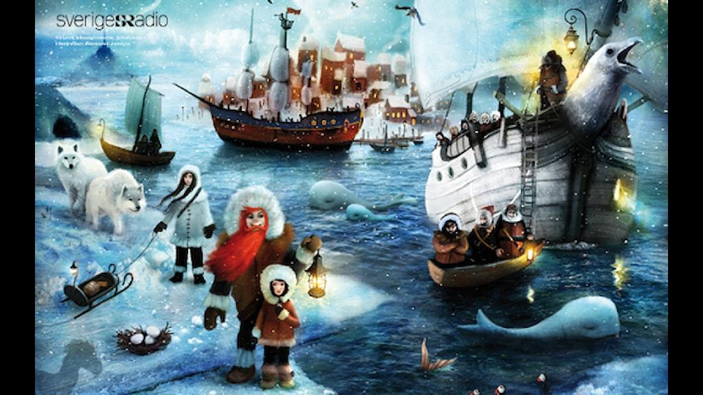 Siri och ishavspiraterna, Julkalendern 2012 illustration: Alexander Janson