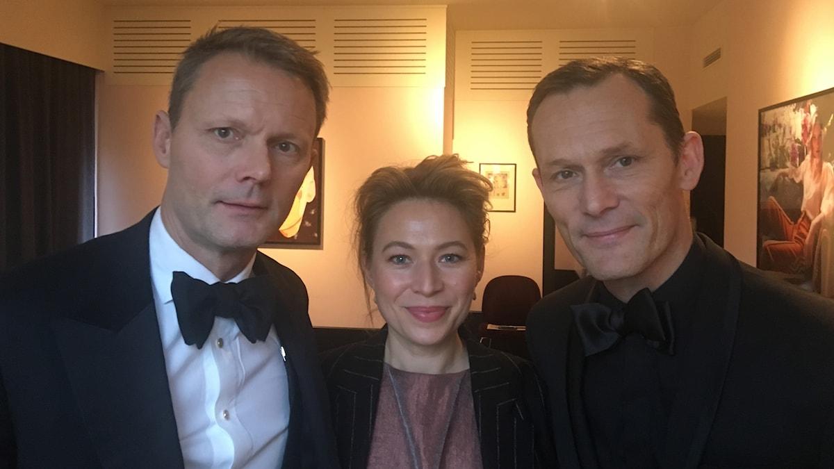 Felix Herngren och Frida Hallgren syns i filmen Solsidan, Måns Herngren har regisserat tillsammans med Felix. Foto: Björn Jansson/SR.