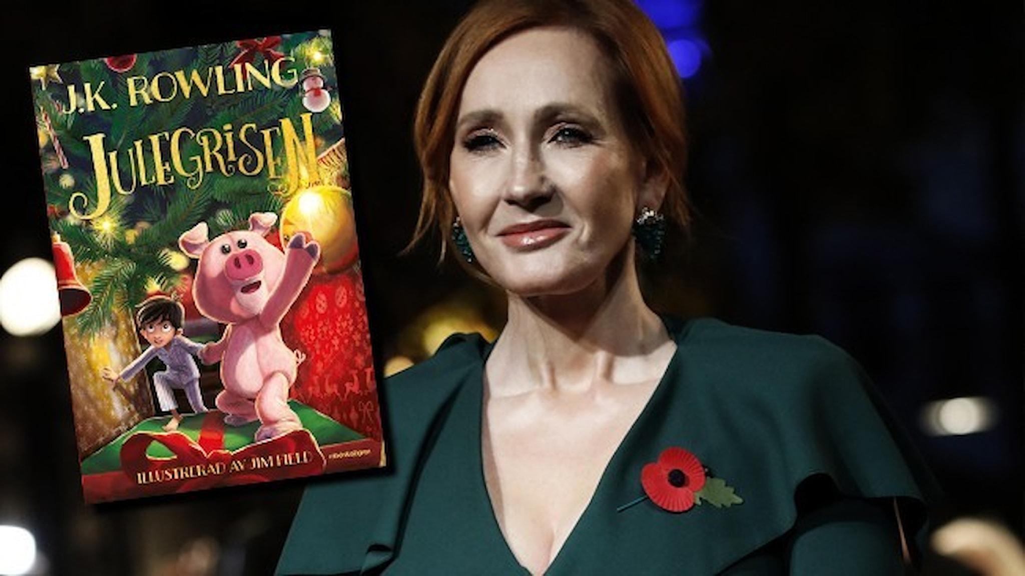 Porträtt av författaren JK Rowling, fint klädd i mörkgrön blus. Infällt är omslaget till hennes nya bok Julegrisen.