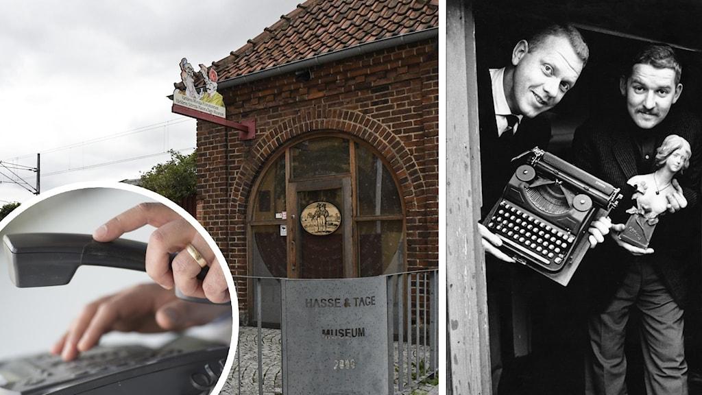 En hand håller i en telefon, en bild på en tegelbyggnad, samt två män i en svartvit bild.