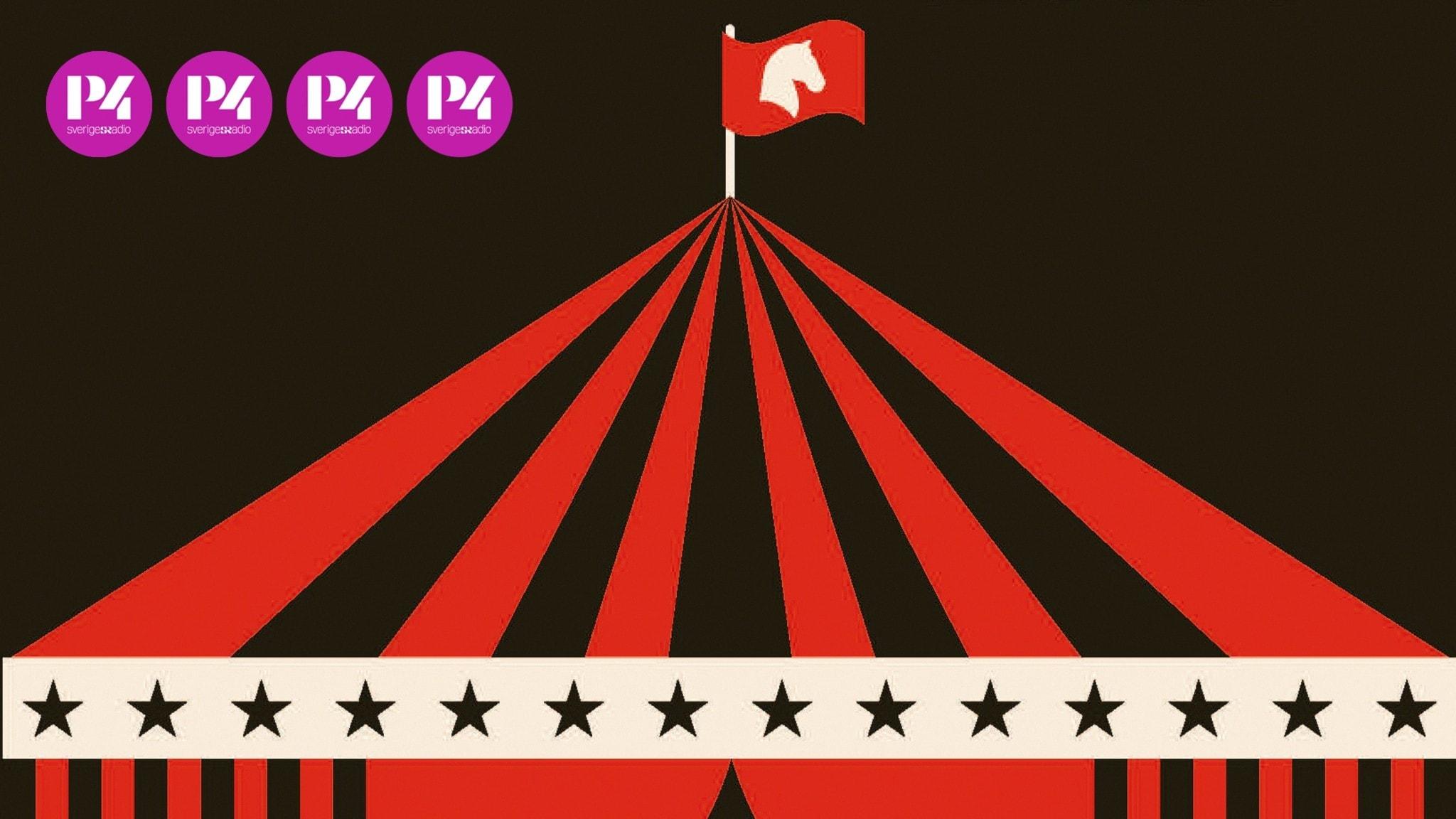 Grafisk teckning av toppen av ett cirkustält