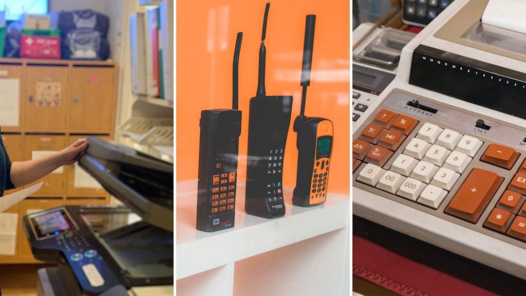 Kopiator, äldre mobiltelefon samt räknemaskin