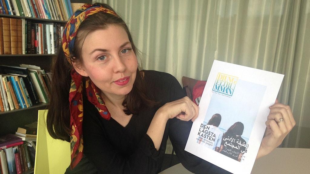 Emerentia Leifsdotter Lund, redaktör för Djungeltrumman. Foto: Jazz Munteanu/SR.