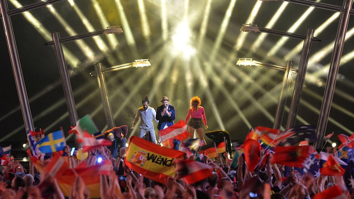Flaggor i folkhavet från Eurovision i Wien 2015.