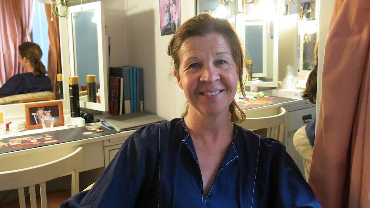 Ingela Olsson aktuell i Dramatens uppsättning av P-O Enquists pjäs I Lodjurets Timma. Foto: Björn Jansson /Sveriges Radio.