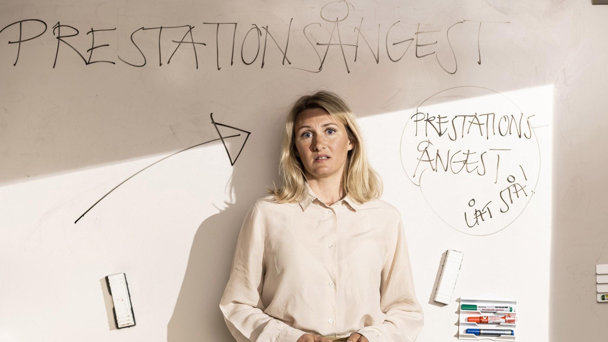 Komikern Sissela Benn i Lektionen för livet: Prestationsångest.