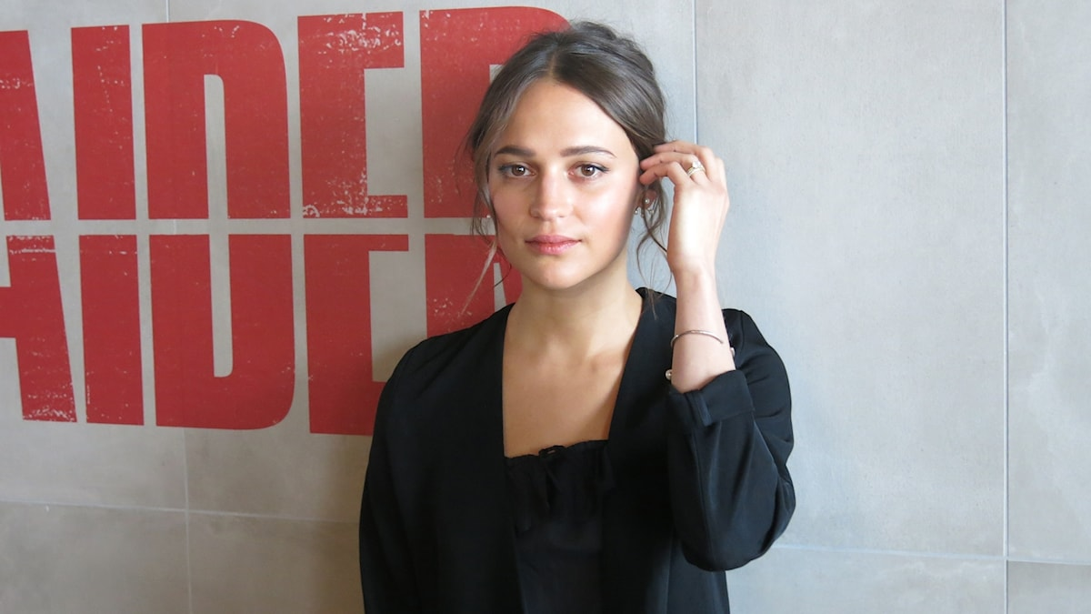 Alicia Vikander aktuell som Lara Croft i Tomb Raider. Foto: Björn Jansson/Sveriges Radio.