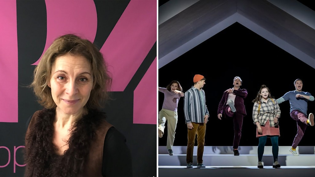 """Helen Sjöholm och fem uppsluppna skådespelare på scen i musikalen """"Next to normal"""" på Uppsala Stadsteater."""