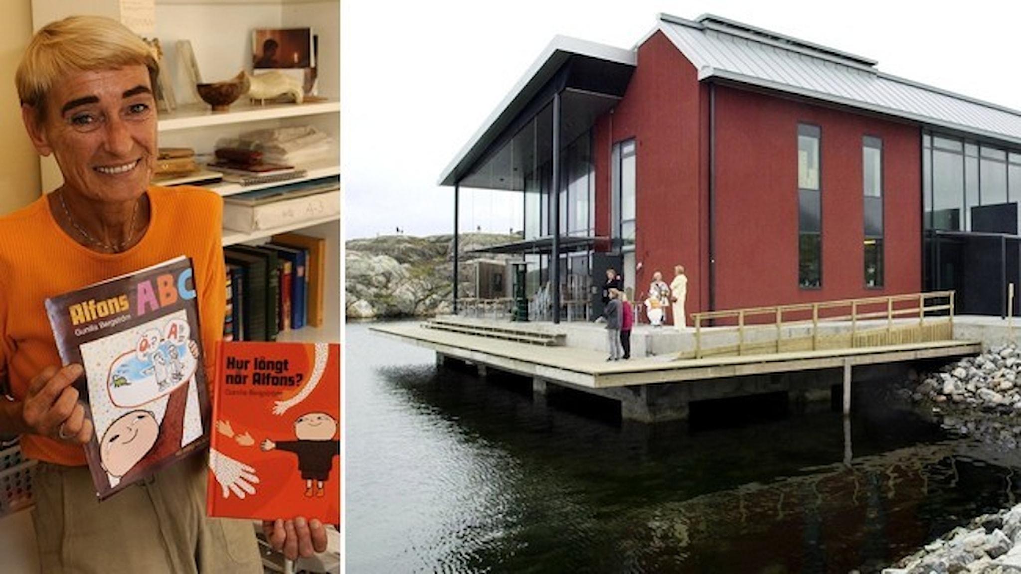 Författaren Gunilla Bergström, klädd i orange tröja, håller upp två av sina Alfons Åberg-böcker. Nordiska akvarellmuseet – en röd byggnad intill vattenbrynet.