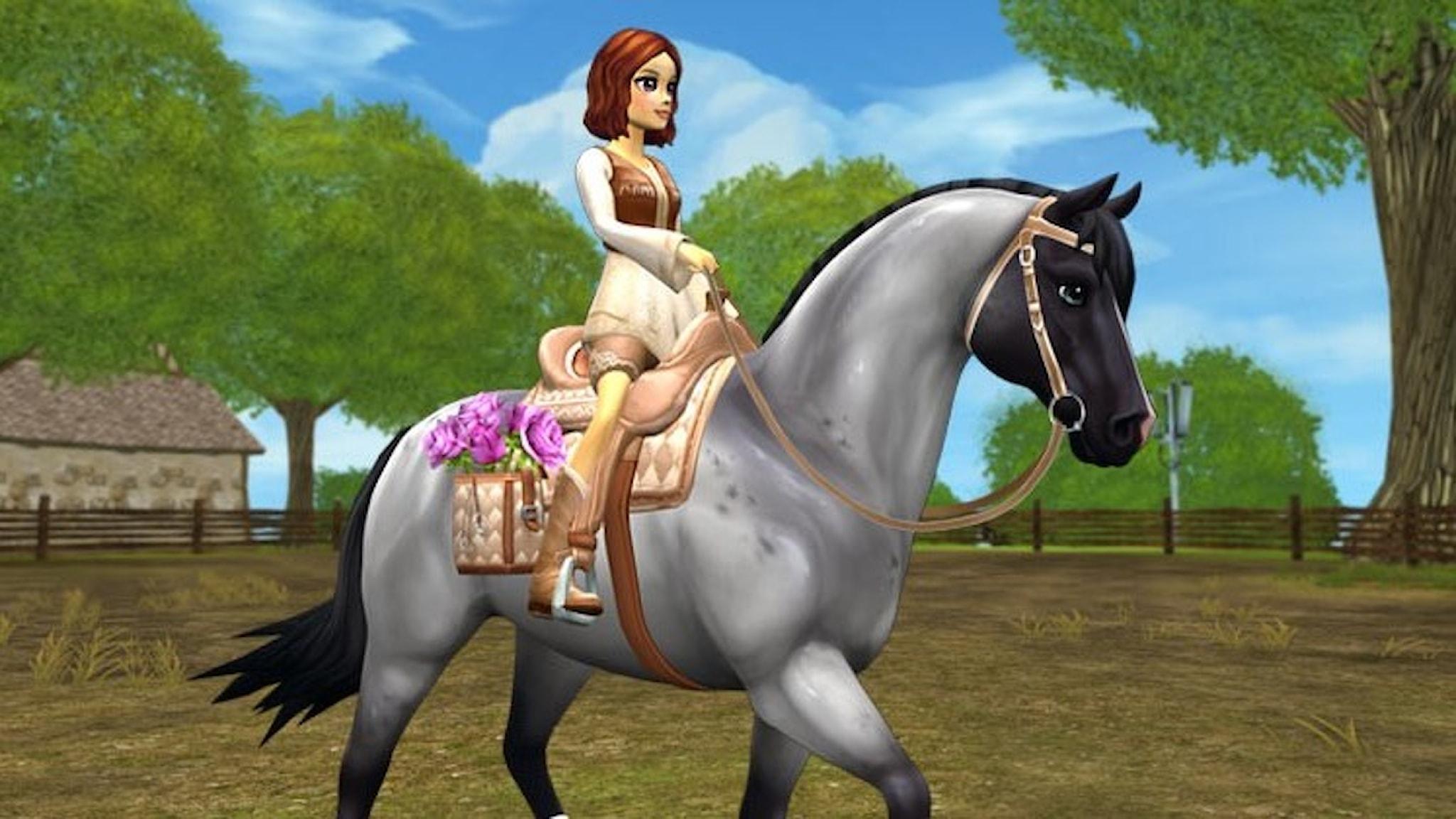 Tecknad bild av tjej till häst