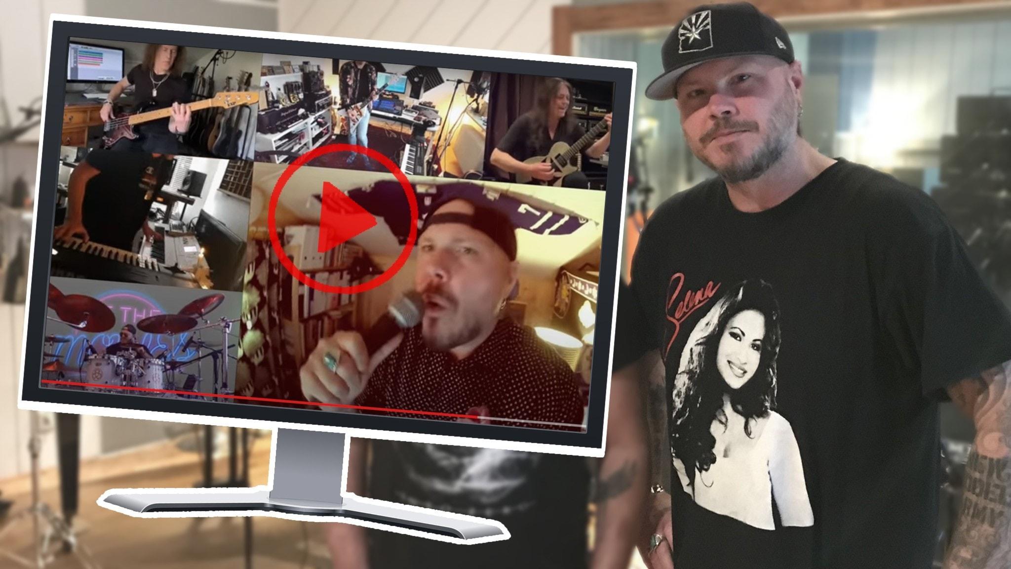 En skärm på en youtubefilm där flera personer spelar musik tillsammans, inklippt i en bild på en man med keps.