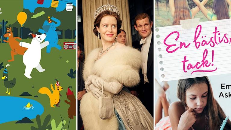 """Barnfilmen """"Jazzoo - Festen"""", tv-serien """"the Crown"""" och barnboken """"En bästis, tack!"""""""