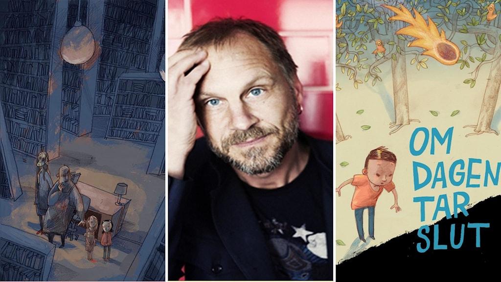 Författaren Per Gustavsson och bilder ur de två Augustprisnominerade böckerna.