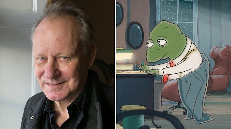 """Skådespelaren Stellan Skarsgård och Ulf Nilssons figur """"Gordon""""."""