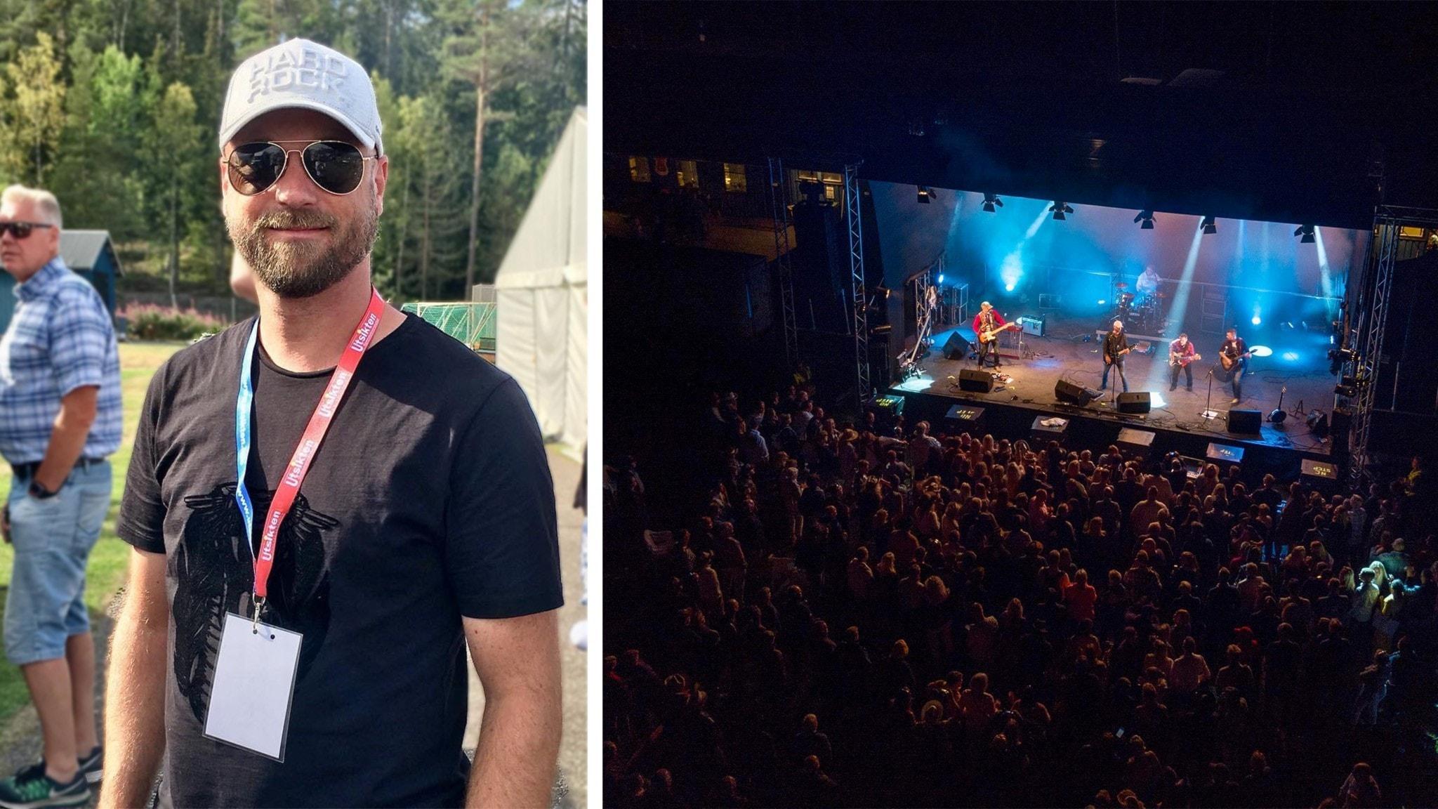 En man på en festival. Han har keps och solglasögon på sig. Till höger en kvällsbild ovanifrån en festival med publik och ett band som spelar på scenen.