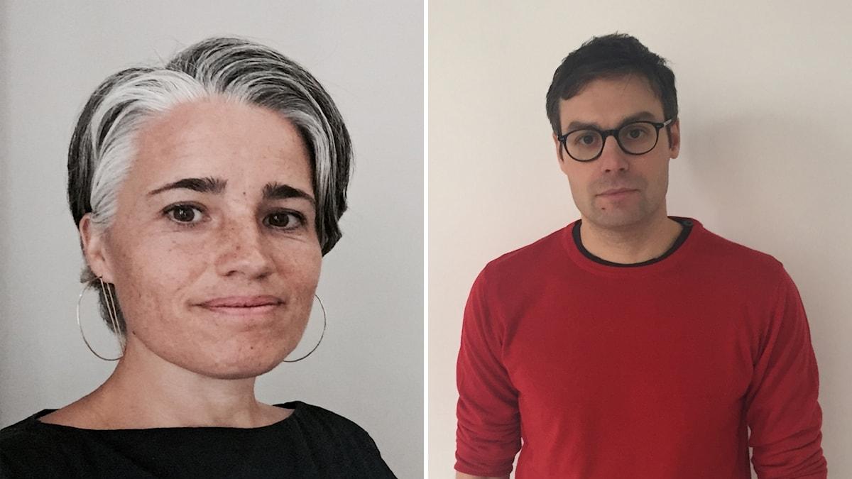 Till vänster ser man forskaren/VR-experten Katy Newton till höger regissören Peter Pontikis.