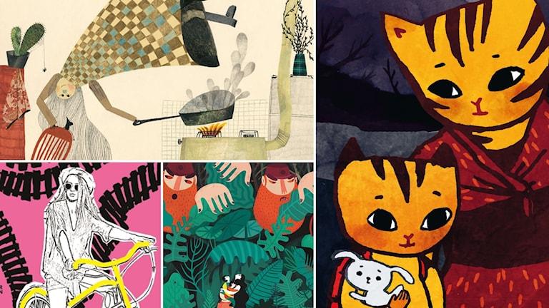 Barnboksåret 2016. Illustrationer av Beatrice Alemagna, Matilda Ruta, Francesca Sanna och Philip Edquist.