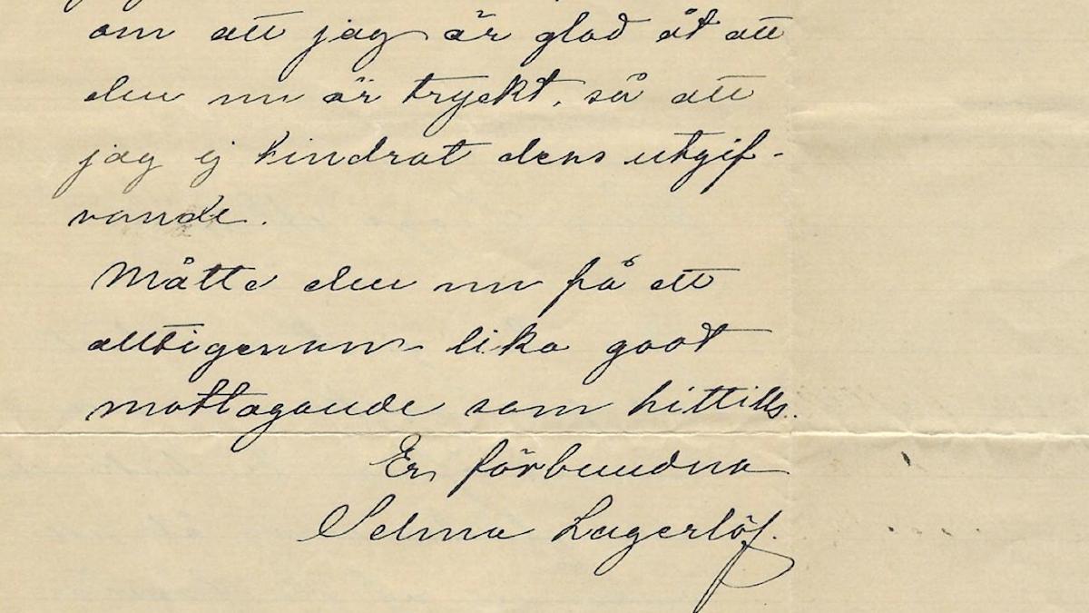 Selma Lagerlöfs svar till blivande författaren Sigge Almén.